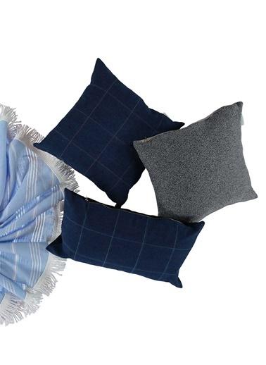 Sade'ce Pink Fresco Denim Yastık Mavi